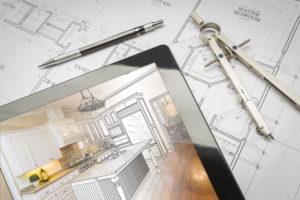 Computer Tablet Showing Kitchen Illustration On House Plans, Pen